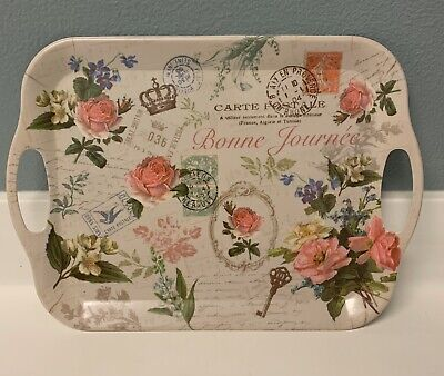 New Melamine English Flower Garden Small Serving Tray w/Handles Pink Spring ~F
