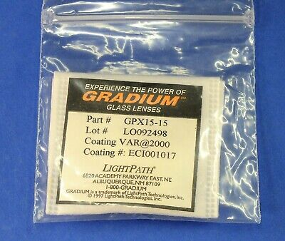 Gradient Index Lens Grin 15mm Dia. X 15mm Fl Lightpath Laser Gradium Pcx