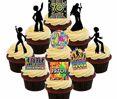 70s Disco Party Pack, 36 Edible Cupcake Toppers, Stand-up Fairy Cake Decorations