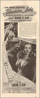 1941 vintage AD Crown DAIN T ZIP revolutionary ZIPPER w/ Veronica Lake 110617