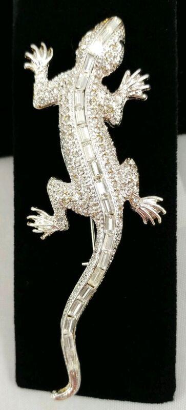 (W) vintage Figural Lizard Gecko Baguette Invisible Rhinestone Silver Brooch Pin