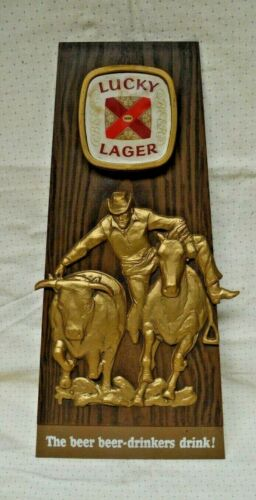 Vintage Lucky Lager Plastic Bar Sign - 1960