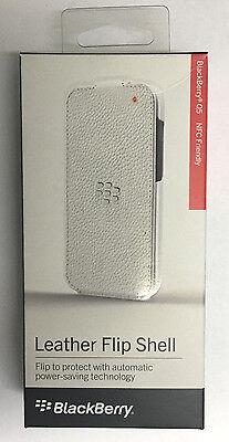 New OEM Blackberry Q5 Leather Flip Shell Carrying Cover Case - Retail ( White ) 5 Blackberry Case