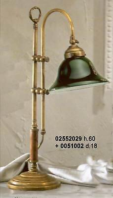 Lámpara de Mesa Oficina Ministerio de Latón Y Madera Inglés Con Vidrio...