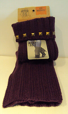 Womens Route 66 Brand Purple cable knit Leg Warmers Stud Detail OSFM