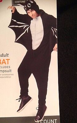 HALLOWEEN BAT PAJAMAS ONE PIECE Adult L  FLEECE COSTUME WITH WINGS MENS  LARGE