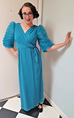 VTG 70s Dress Dragon Scale Sleeves Teal Wrap Evening Gown Party Maxi Sz S M