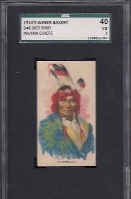 1910 WEBER BAKERY D46 INDIAN CHIEFS CARD - RED BIRD -- SGC 40