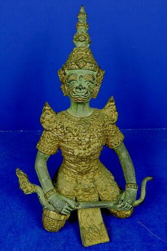 VINTAGE THAI BUDDHIST GILDED & PATINATED BRONZE DVARAPALAS YAKSHA SCULPTURE