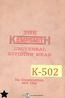 Kempsmith Universal Dividing Heads Milling Machine Construction And Use Manual
