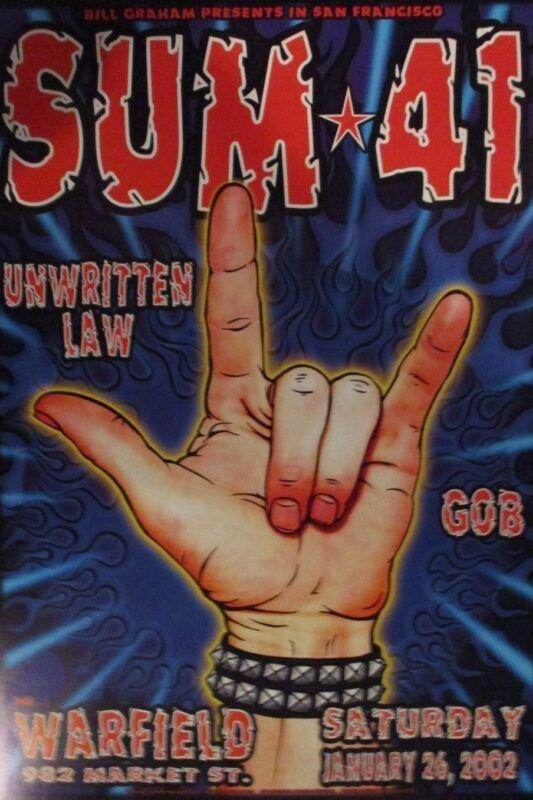 SUM 41 WARFIELD POSTER Unwitten Law GOB BGP275 Original Bill Graham Chris Shaw