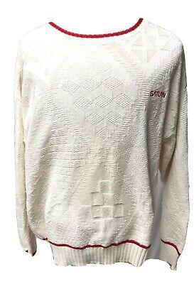 Saturn Car Logo Mens XL Cotton White Sweater Dealer Sales Apparel Automotive Saturn Car Dealer