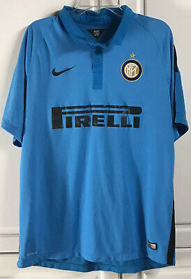 NIKE 2014 Inter Milan Pirelli Aqua Blue Soccer Jersey Shirt Extra Large XL  image