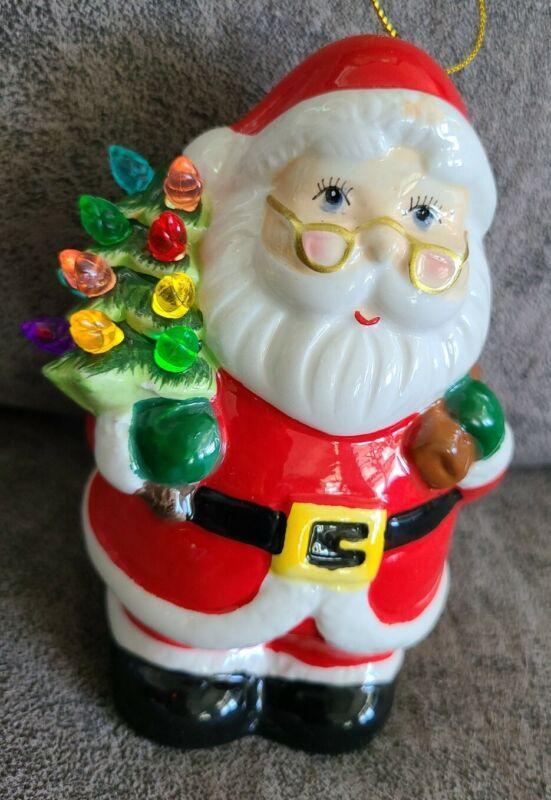 "MR CHRISTMAS LIGHTED HANGING STANDING SANTA CERAMIC TREE FIGURE ORNAMENT 5.5"""