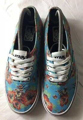 VANS Star Wars Yoda Aloha Hawaiian Blue Floral Canvas Shoes Mens Size 8