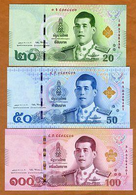 SET, Thailand 20-50-100 Baht ( 2018) P-New UNC > New King, New Design