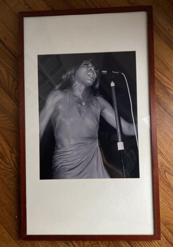 "tina turner 18""x14"" Framed B/W Concert Photo Hard Rock Hollywood"
