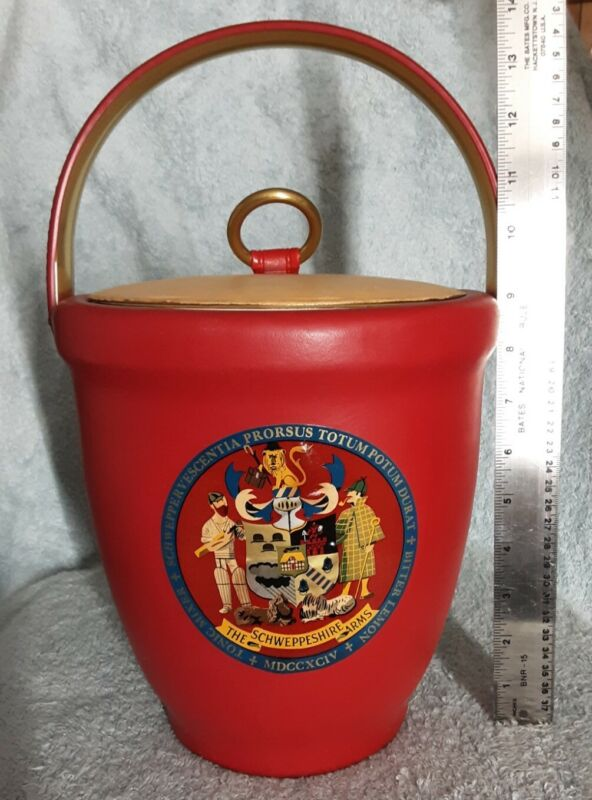 NIB - Perfect Cond - 1965 - Schweppeshire Arms - Red/Gold Ice Bucket Schweppes