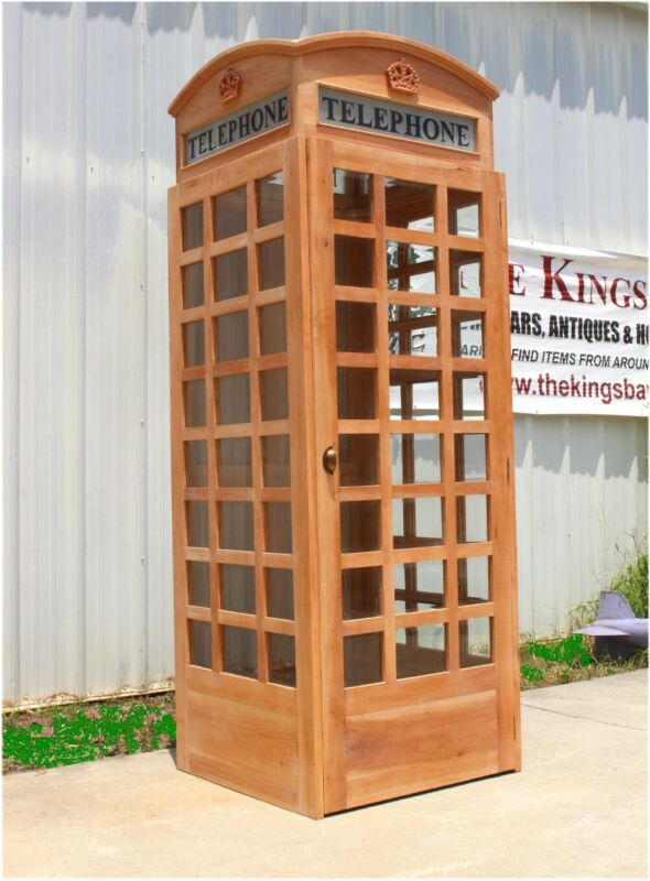 English British Telephone Booth Phone Box Unfinished Wood Old Style