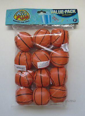 12 Mini Foam Stuffed Basketballs Sports Party Goody Loot Bag Filler Favor Supply