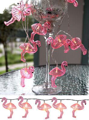 LED Lichterkette 10 tlg. Flamingo Batteriebetrieb mit Timer Partylicht