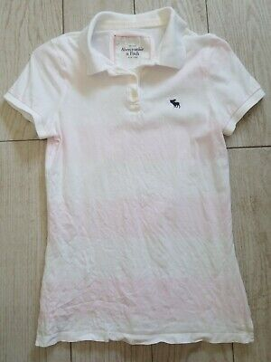 Abercrombie & Fitch Polo Shirt Size L Large - Pink/white/stripes