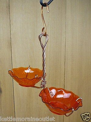 Holland Hill Double Orange Cups Copper Oriole Jelly Jam Hanging Bird Feeder
