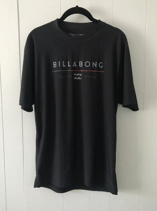 Billabong Mens Size Medium Rash Guard Shirt Black UVA/UVB Protection EUC