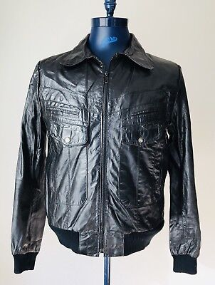 Vintage Bermans Black Leather Bomber Jacket Mens Size 42L