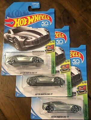 Hot Wheels ASTON MARTIN ONE-77 - ZAMAC 50th Anniversary HW EXOTICS lot of THREE