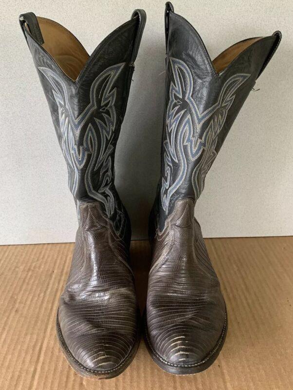 Lizard, Skin, Leather, Western, Brown, Cowboy, Riding, Boots, Mens, Sz, 10.5, D