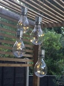 6 Solar Powered WHITE LED Hanging Light Bulbs Solar Garden Lights Christmas
