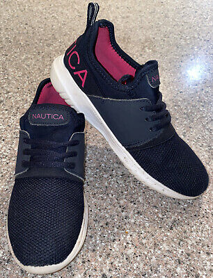 """NAUTICA """"Kappil"""" Girls Athletic Tennis Running Shoes Navy Pink Size 2 👟"""