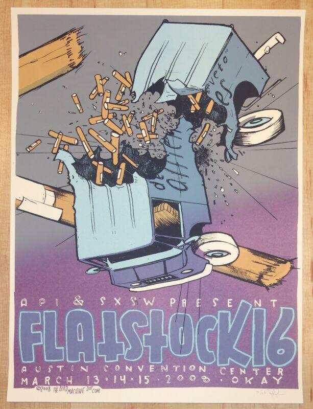 2008 SXSW & Flatstock 16 - Austin Silkscreen Concert Poster s/n by Jay Ryan