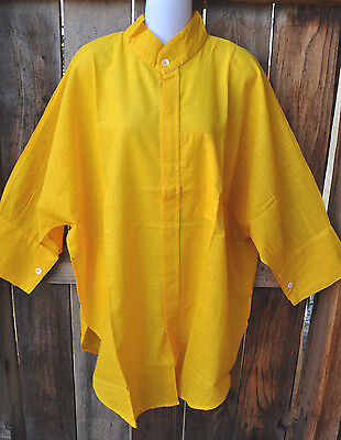 Dilemma Art To Wear Hand Woven   Hand Spun Cotton Big Shirt In Solid Yellow Os