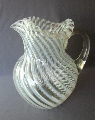 Antique VINTAGE Blown Glass OPALESCENT SWIRL WATER PITCHER