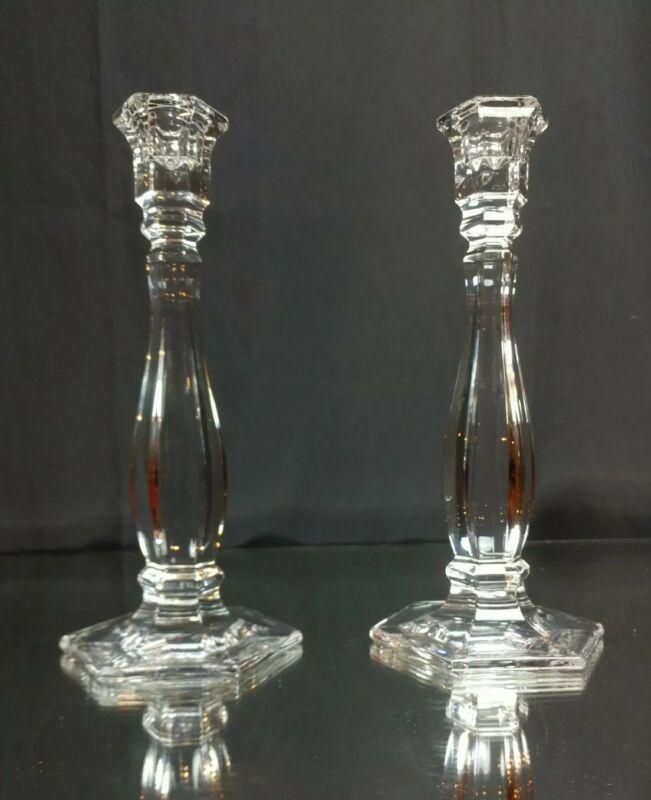 "NEAR MINT! Tiffany & Co. RICHMOND Crystal Candlestick Pair SIGNED! 9.25"" 23.5 cm"