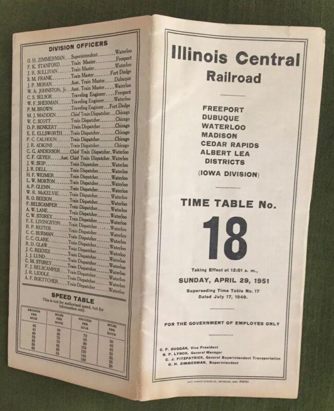 Illinois Central Railroad 4/29/51 Employee Timetable-Iowa Div
