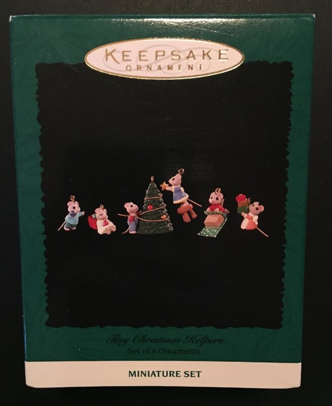 Hallmark: TINY CHRISTMAS HELPERS - Set of 6 Miniature Ornaments - Dated 1996