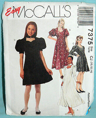 Uncut McCall Girl 10-14 Easy Fit & Flared Dress Pattern 7375 Choker Style Collar