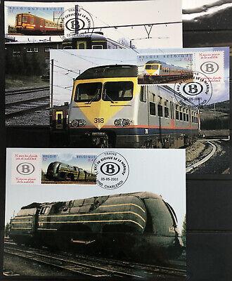 Belgique België, 3 Souvenirs Philatélique, Trains, Neufs, Bien