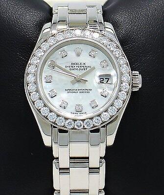 Rolex Masterpiece Pearlmaster 80299 18K W Gold Fact Diamond Bezel MOP Dial *MINT