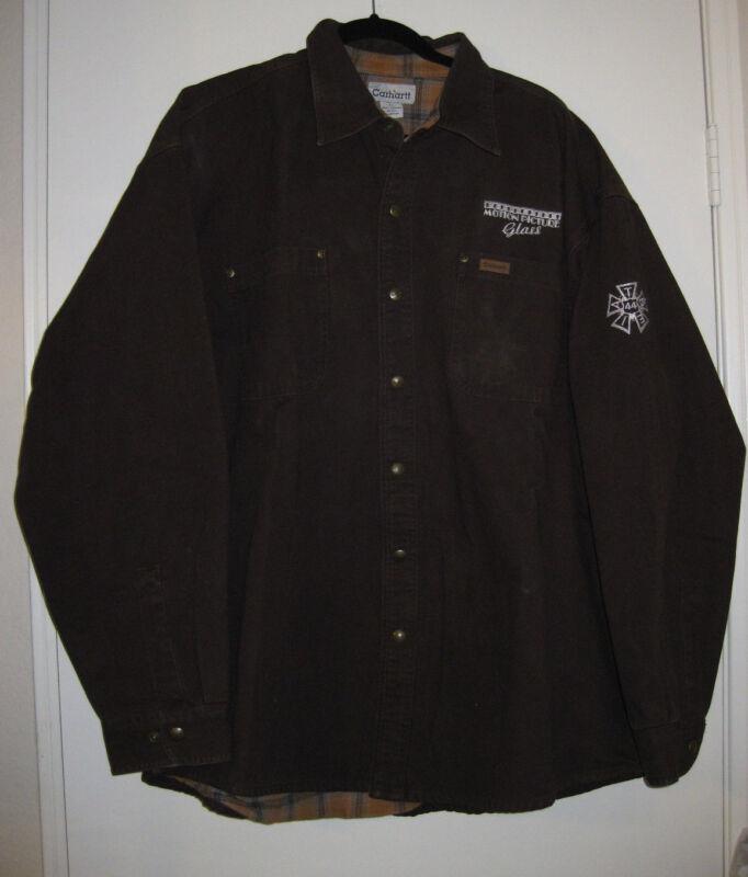 Carhartt XL Men Brown 100%Cotton Jacket Motion Picture GLASS Crew Member TSELA44