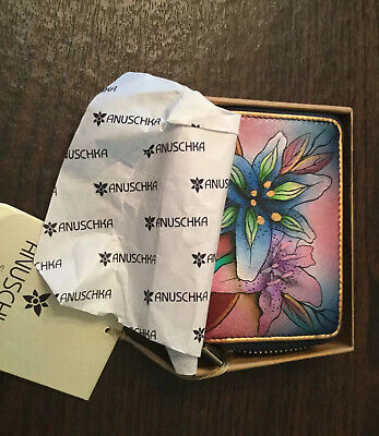 anuschka hand painted leather  Credit Card Case Zip Around