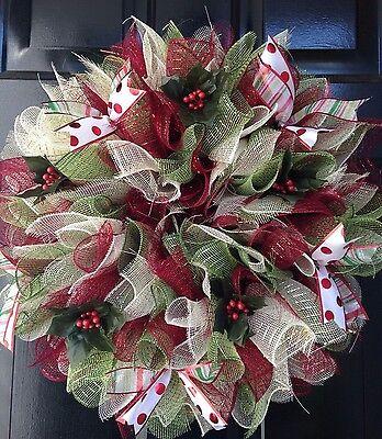 Christmas Wreath Holiday Maroon Creme Green Holly Ribbon Deco Mesh ()
