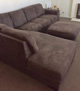 3-4 Seater Modular Sofa Corner Lounge & ottoman - brown suede Brooklyn Brimbank Area Preview