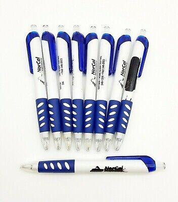 Lot Of 9 Misprint Plastic Ballpoint Pens Retractable Black Ink Blue Grip
