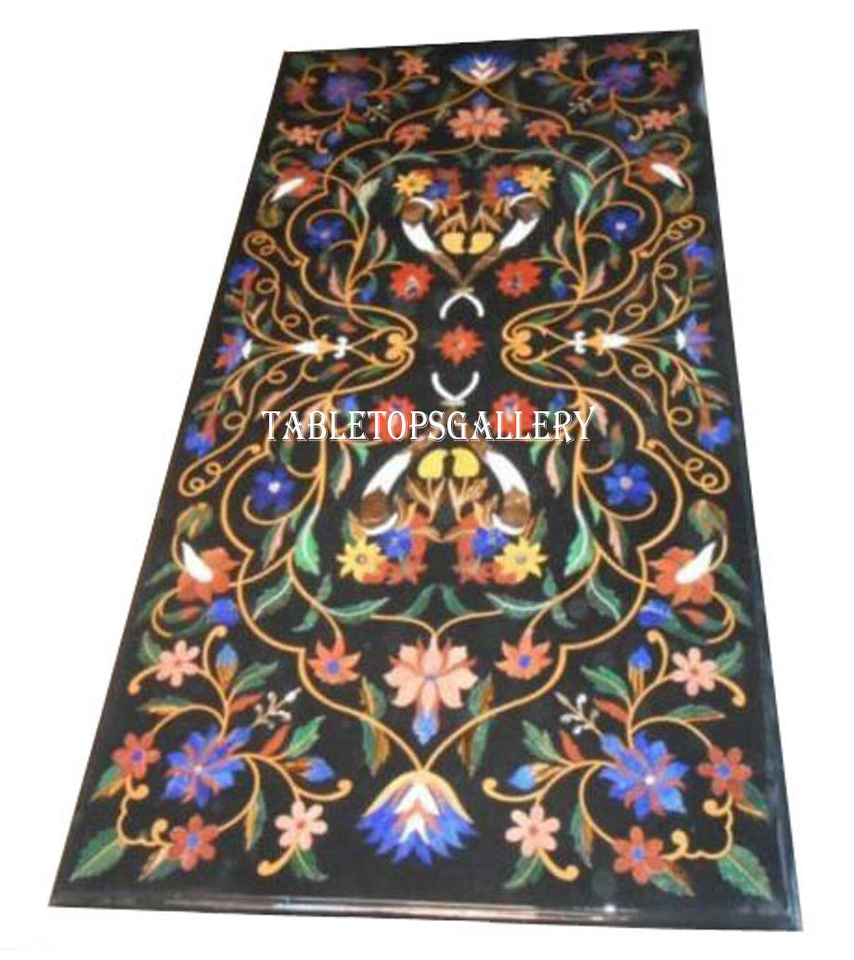 4'x2' Black Marble Dining Table Top Lapis Gems Inlaid Mosaic Garden Decor H2440