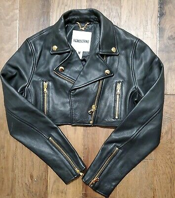 H&M X MOSCHINO Couture Jeremy Scott cropped Leather Black Moto Jacket Med Jr.