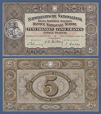 SCHWEIZ / SWITZERLAND 5 Franken 1952 UNC  P.11 p